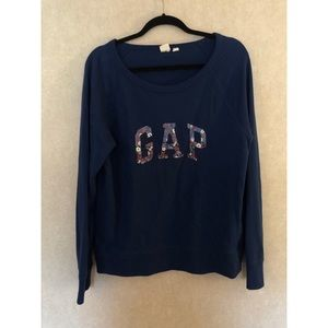 GAP Floral navy blue sweatshirt. Size L
